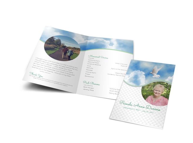 Order Of Service Bi-Fold Brochure Template