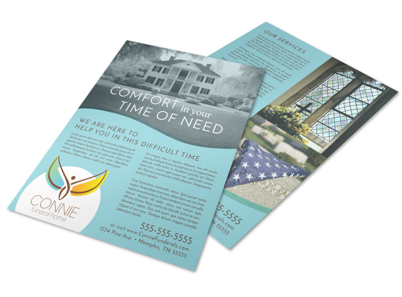 Teal Funeral Home Flyer Template Preview 4