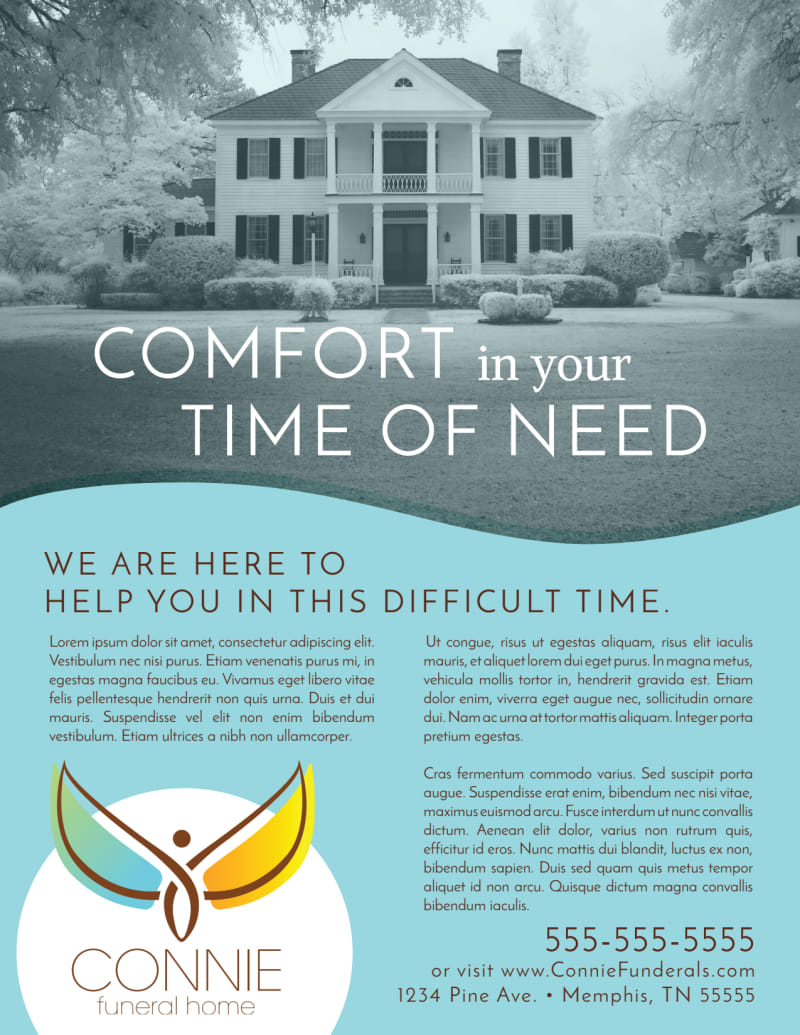 Teal Funeral Home Flyer Template Preview 2