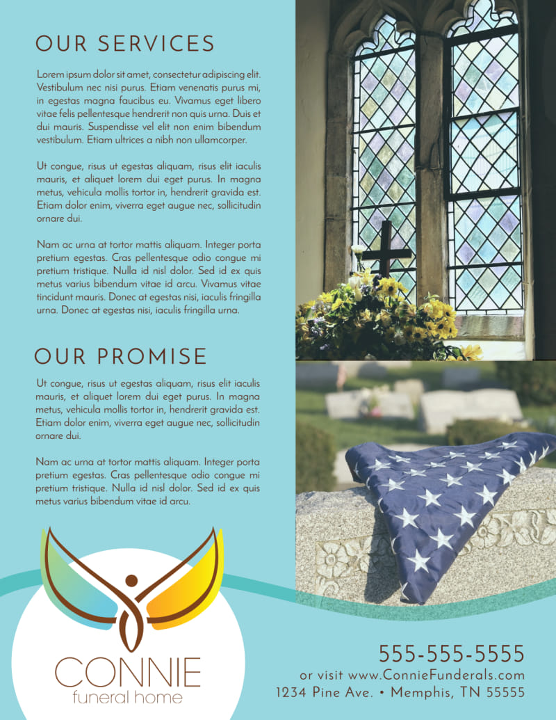 Teal Funeral Home Flyer Template Preview 3