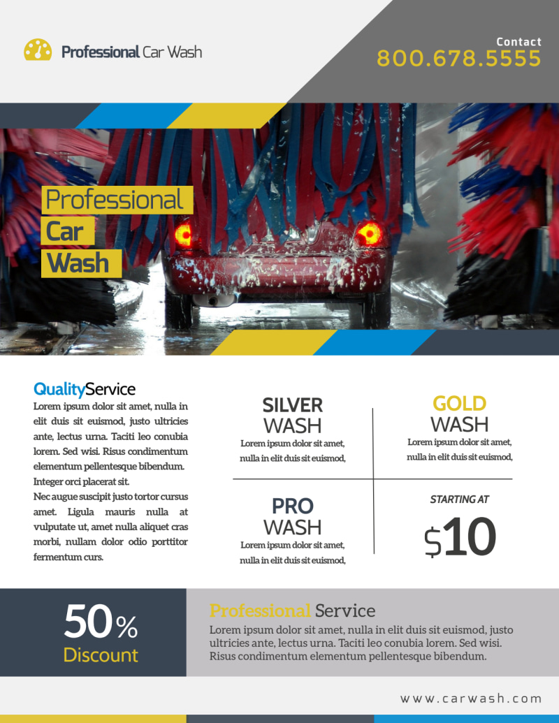 Professional Car Wash Service Flyer Template Preview 2