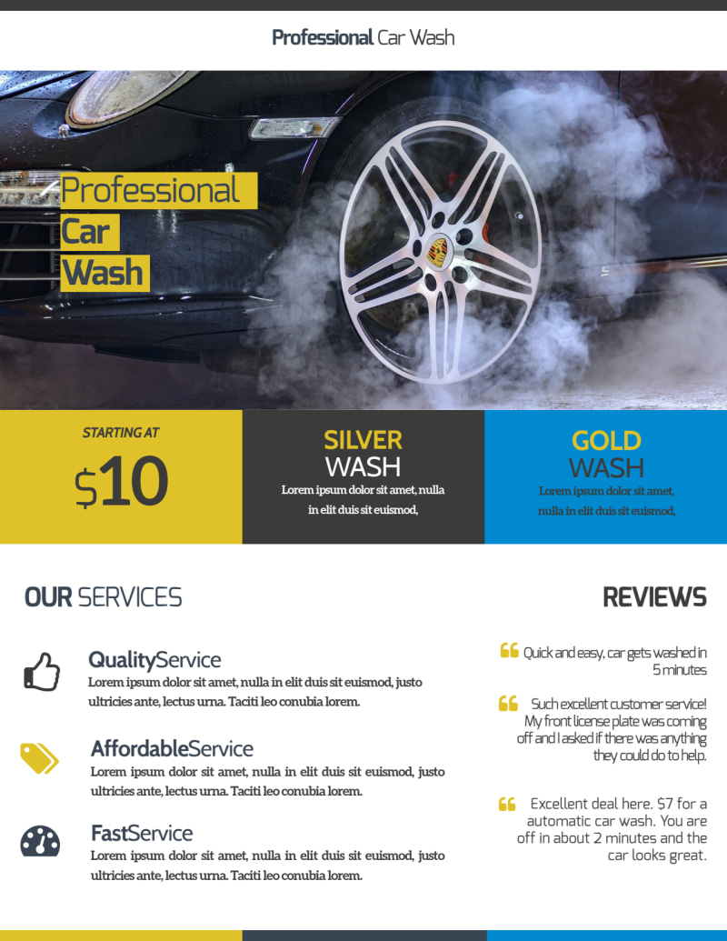 Professional Car Wash Service Flyer Template Preview 3