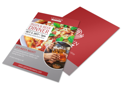 Brewery Pizza & Beer Event Flyer Template preview