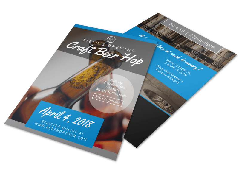 Field's Brewery Tour Flyer Template Preview 1