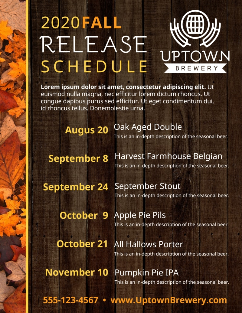 Fall Release Schedule Beer Flyer Template Preview 2