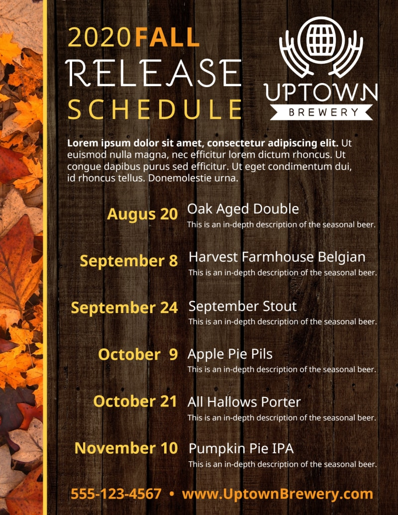 Fall Release Schedule Beer Flyer Template Preview 3