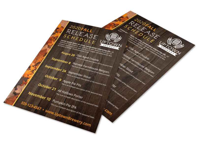 Fall Release Schedule Beer Flyer Template Preview 1