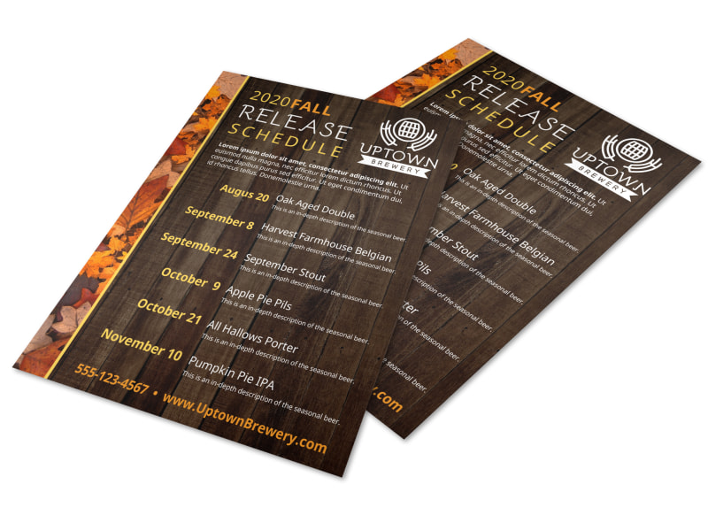 Fall Release Schedule Beer Flyer Template Preview 4