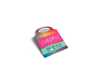 Cheers Gift Wine Bottle Tag Template preview