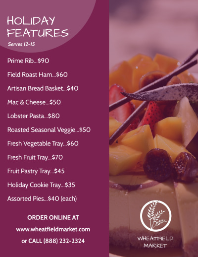 Holiday Catering Specials Flyer Template Preview 2