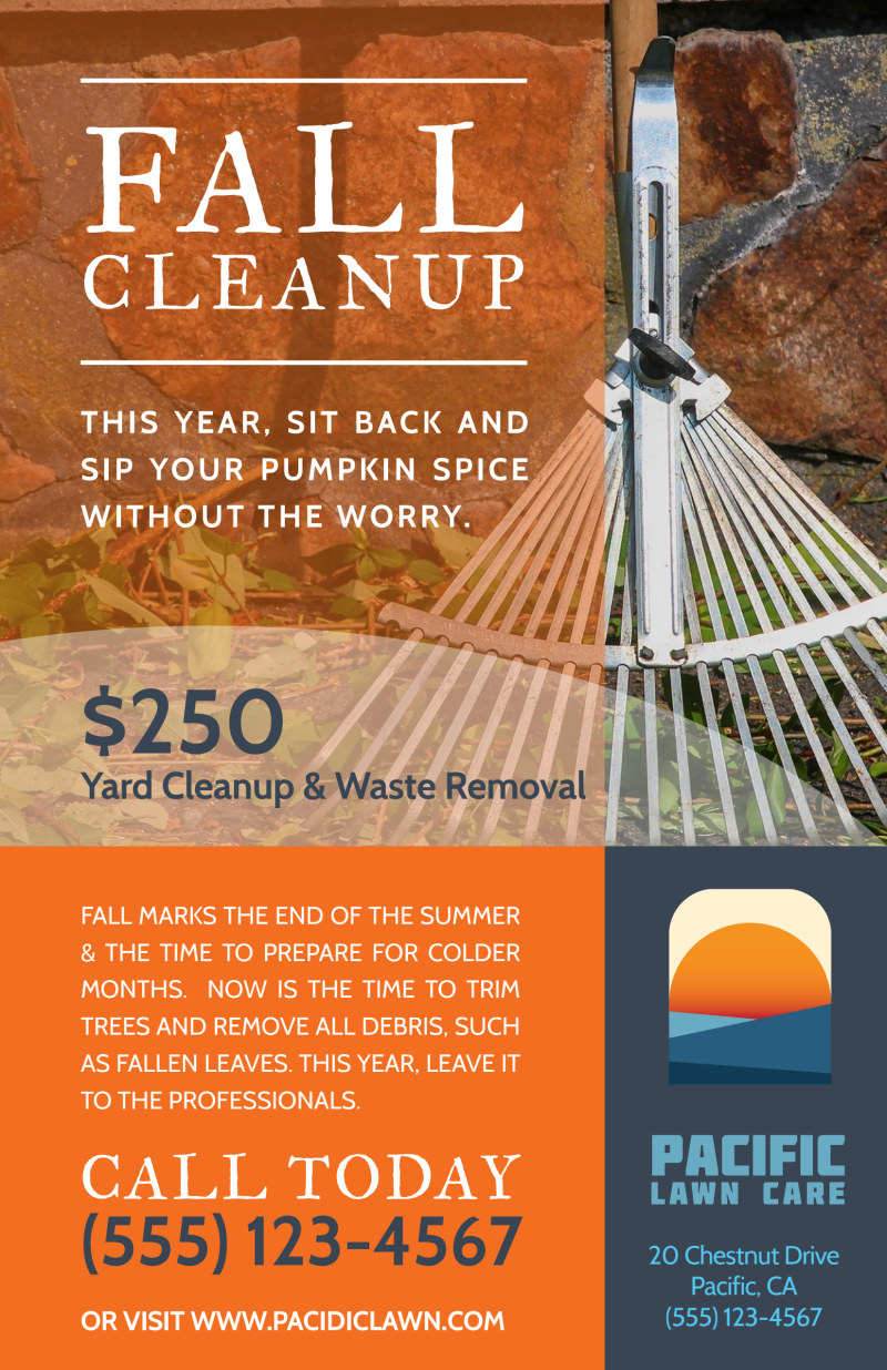Lawn Mowing Fall Cleanup Poster Template Preview 2