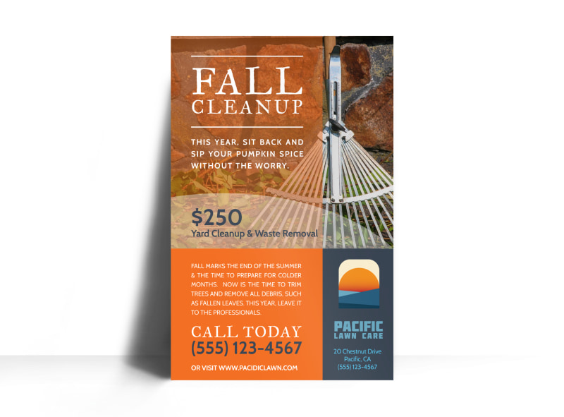 Lawn Mowing Fall Cleanup Poster Template MyCreativeShop