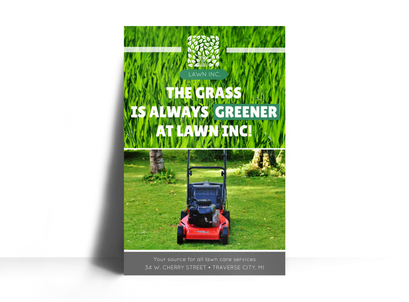Lawn Mowing About Us Poster Template Preview 1