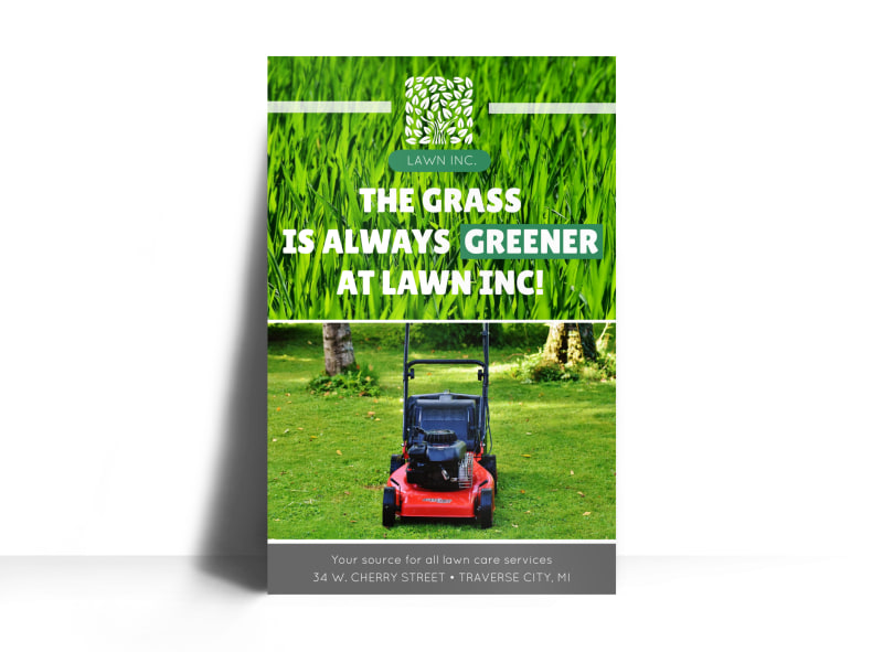 Lawn Mowing About Us Poster Template