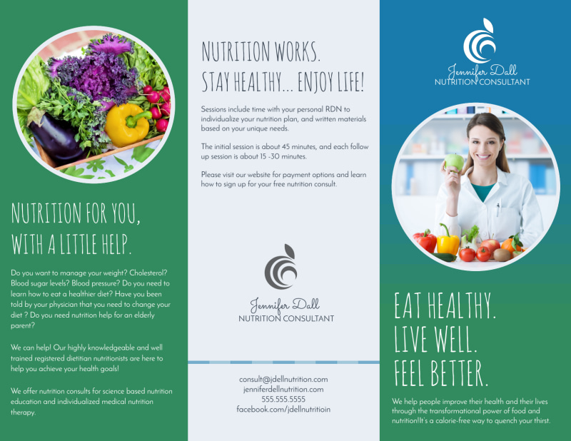 Live Well Nutrition Consultation Tri-Fold Brochure Template Preview 2