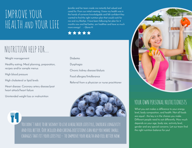 Live Well Nutrition Consultation Tri-Fold Brochure Template Preview 3