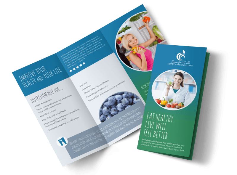 Live Well Nutrition Consultation Tri-Fold Brochure Template Preview 1