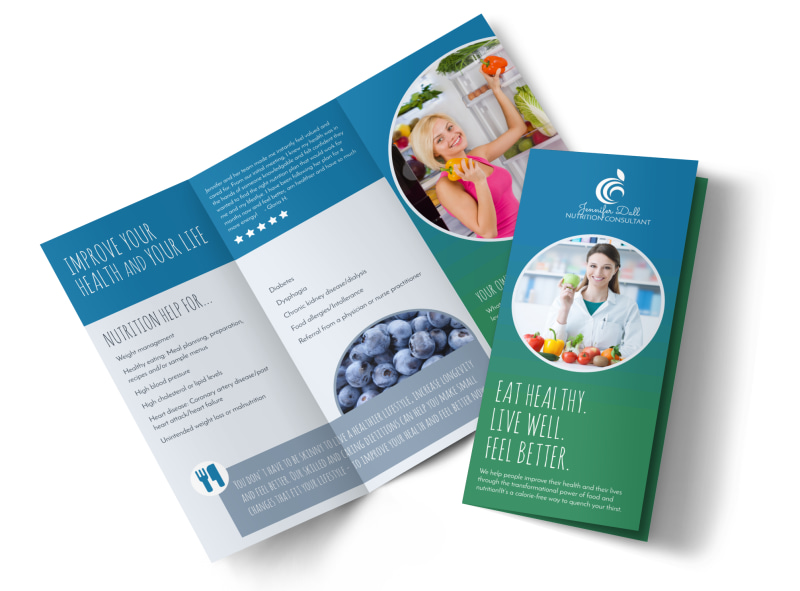 Live Well Nutrition Consultation Tri-Fold Brochure Template