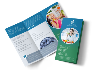 Live Well Nutrition Consultation Tri-Fold Brochure Template preview