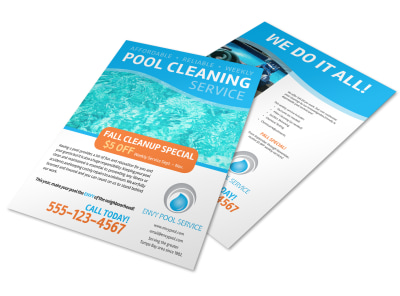 Pool Cleaning Fall Cleanup Flyer Template preview