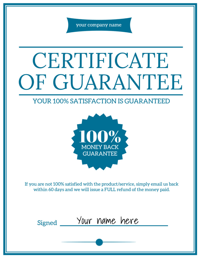 Certificate Of Guarantee Template Preview 2