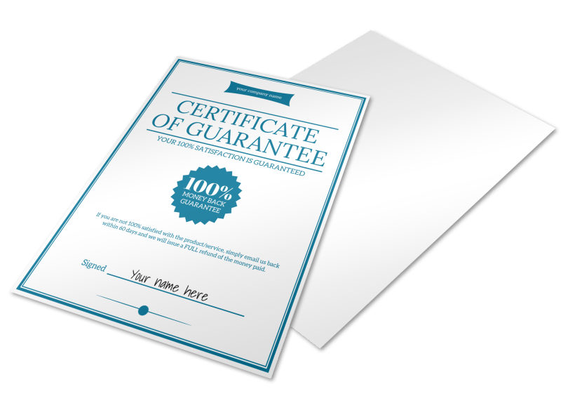 Certificate Of Guarantee Template Preview 1