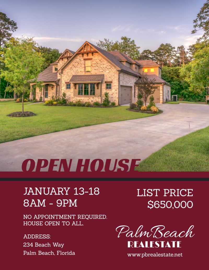 Maroon Open House Flyer Template Preview 2