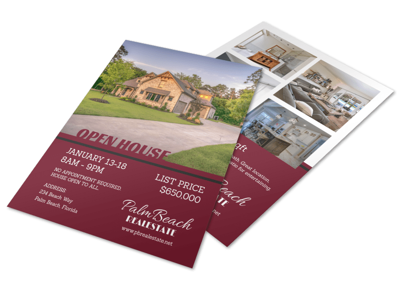 Maroon Open House Flyer Template Preview 1