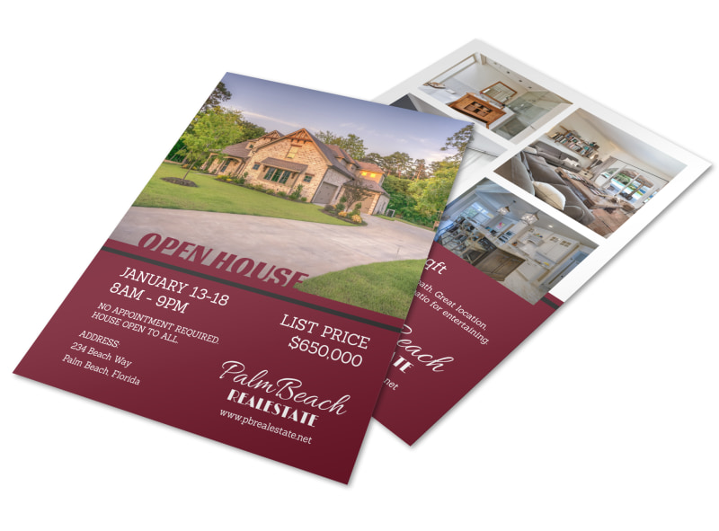 Maroon Open House Flyer Template