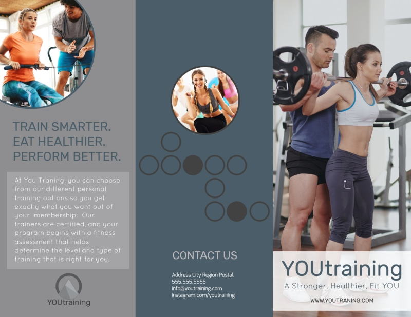 Trainer Services Offered Tri-Fold Brochure Template Preview 2