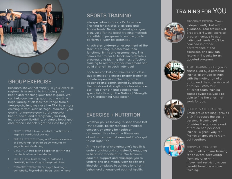 Trainer Services Offered Tri-Fold Brochure Template Preview 3