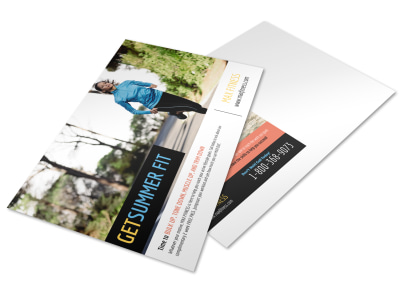 Summer Fit Personal Trainer Postcard Template preview