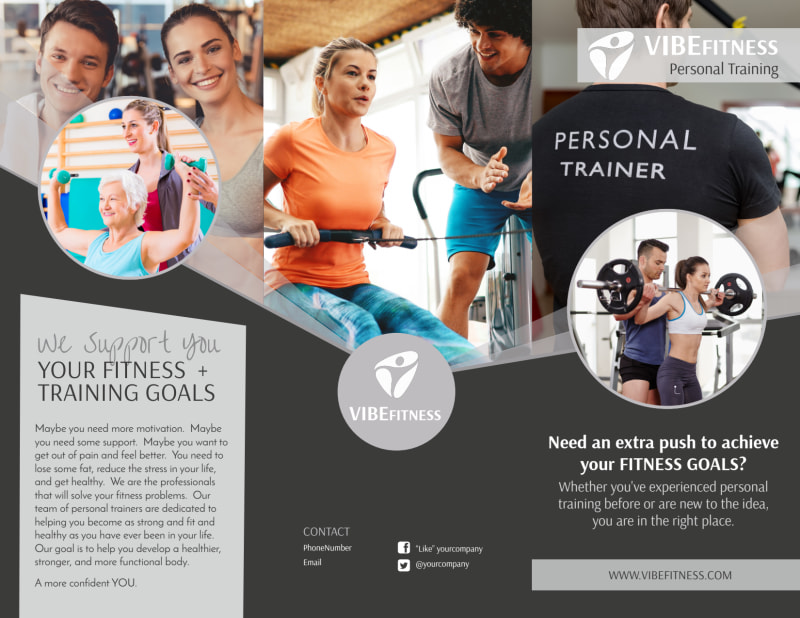 Elite Personal Trainers Tri-Fold Brochure Template Preview 2
