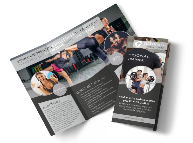 Elite personal trainers tri fold brochure template for Personal brochure templates