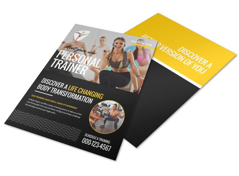About the personal trainers flyer template mycreativeshop for Personal brochure templates