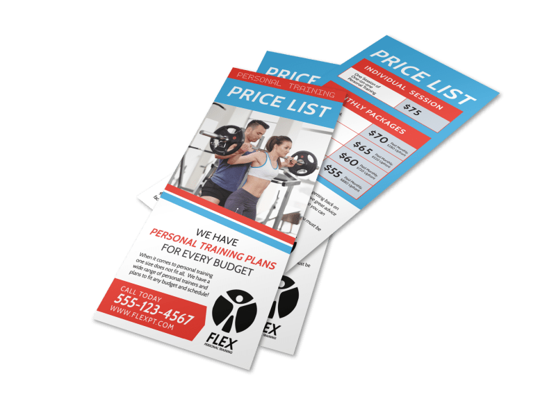 Personal Trainer Pricing Plans Flyer Template Preview 1