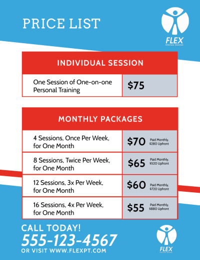 Personal Training Pricing Flyer Template Preview 2