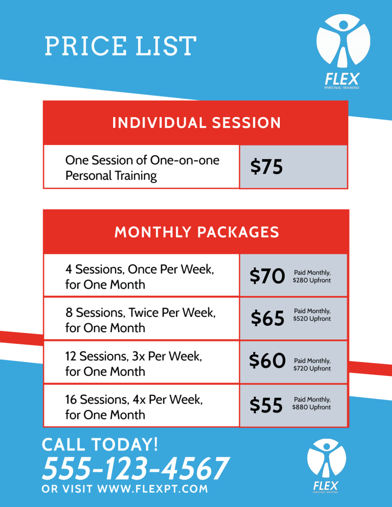 Personal Training Pricing Flyer Template Preview 3