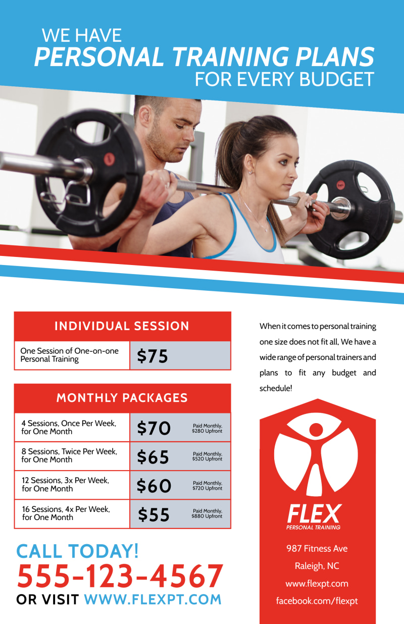 Personal Trainer Pricing Poster Template Preview 2