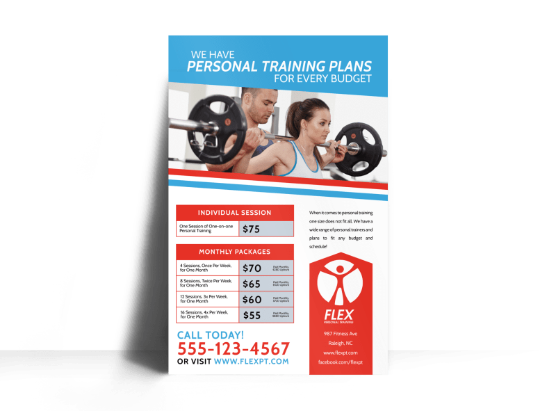 Personal Trainer Pricing Poster Template Preview 1