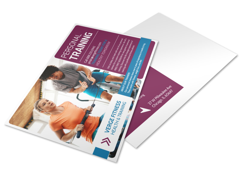 Personal Trainer Promotional Ad Postcard Template