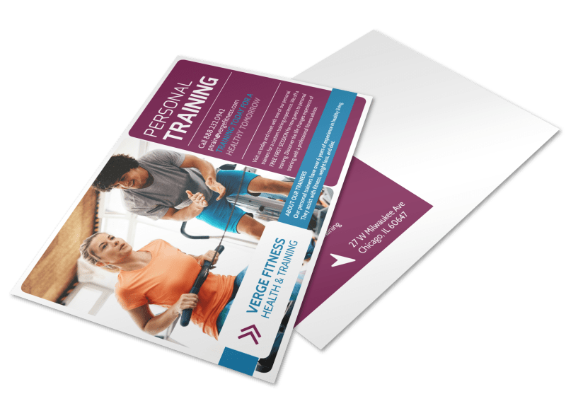 Personal Trainer Promotional Ad Postcard Template Preview 1