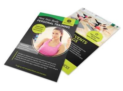 Personal Trainer New Years Flyer Template preview