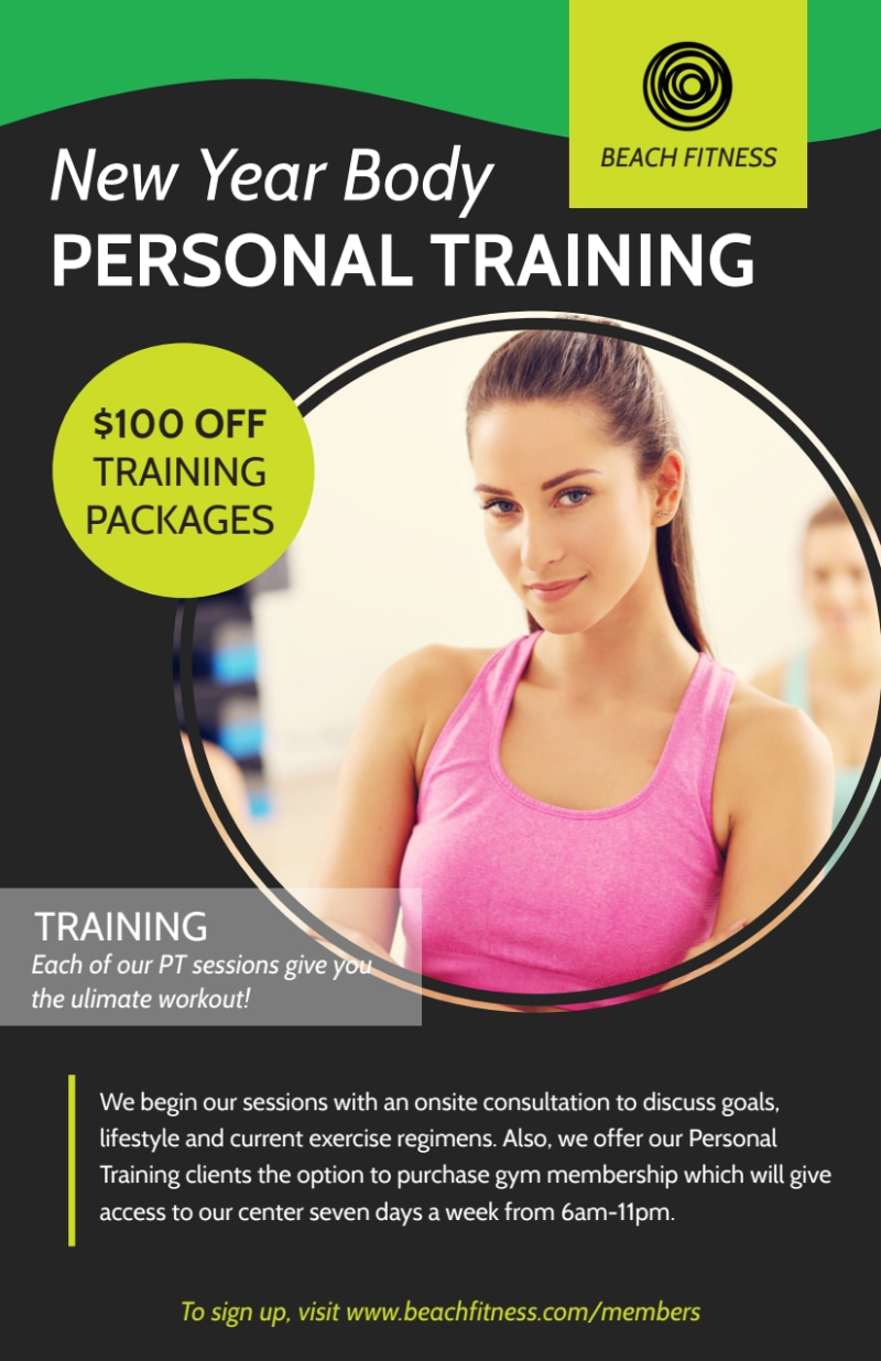 Personal Trainer New Years Flyer Template Preview 2