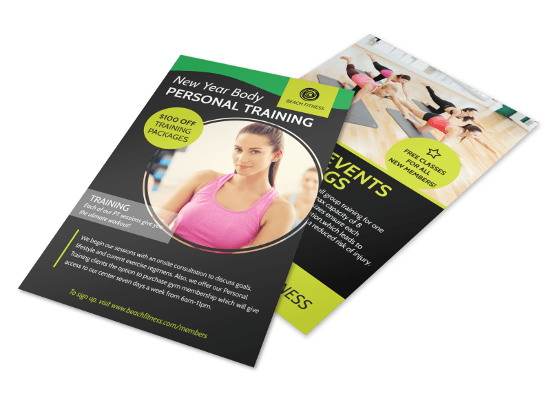 Personal Trainer New Years Flyer Template Preview 1