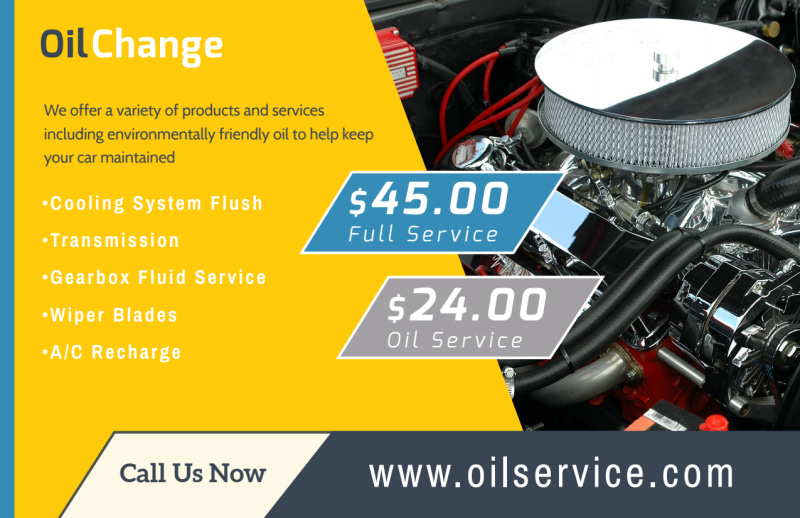 Auto Repair Oil Change Postcard Template Preview 3