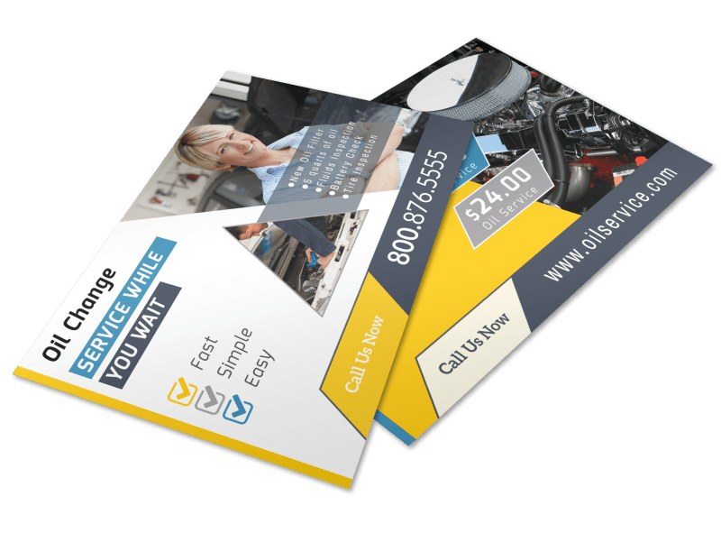 Auto Repair Oil Change Postcard Template Preview 1