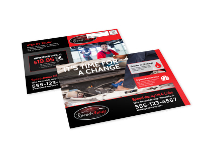 Auto Repair Oil Change EDDM Postcard Template preview