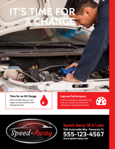 Auto Repair Oil Change Flyer Template Preview 1