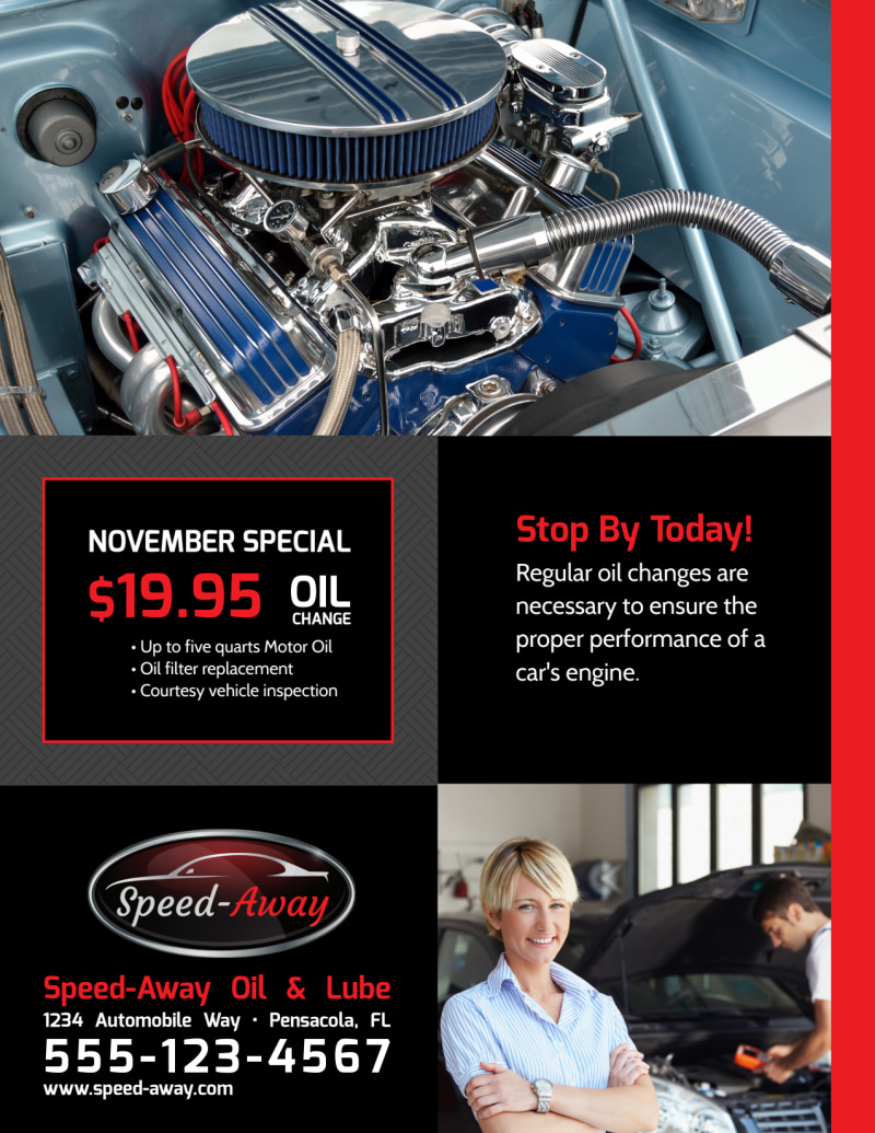 Auto Repair Oil Change Flyer Template Preview 3